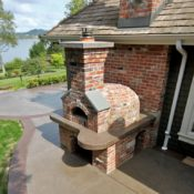 outdoor pizza oven brick concrete dyed stamped border canyon slate