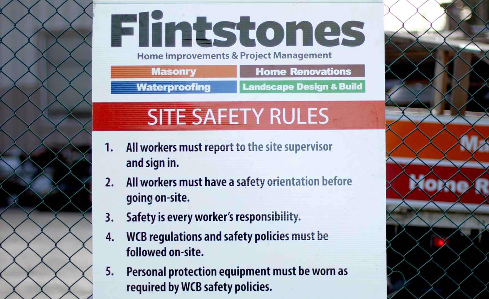 Flintstones Masonry | WBC Safety Sign