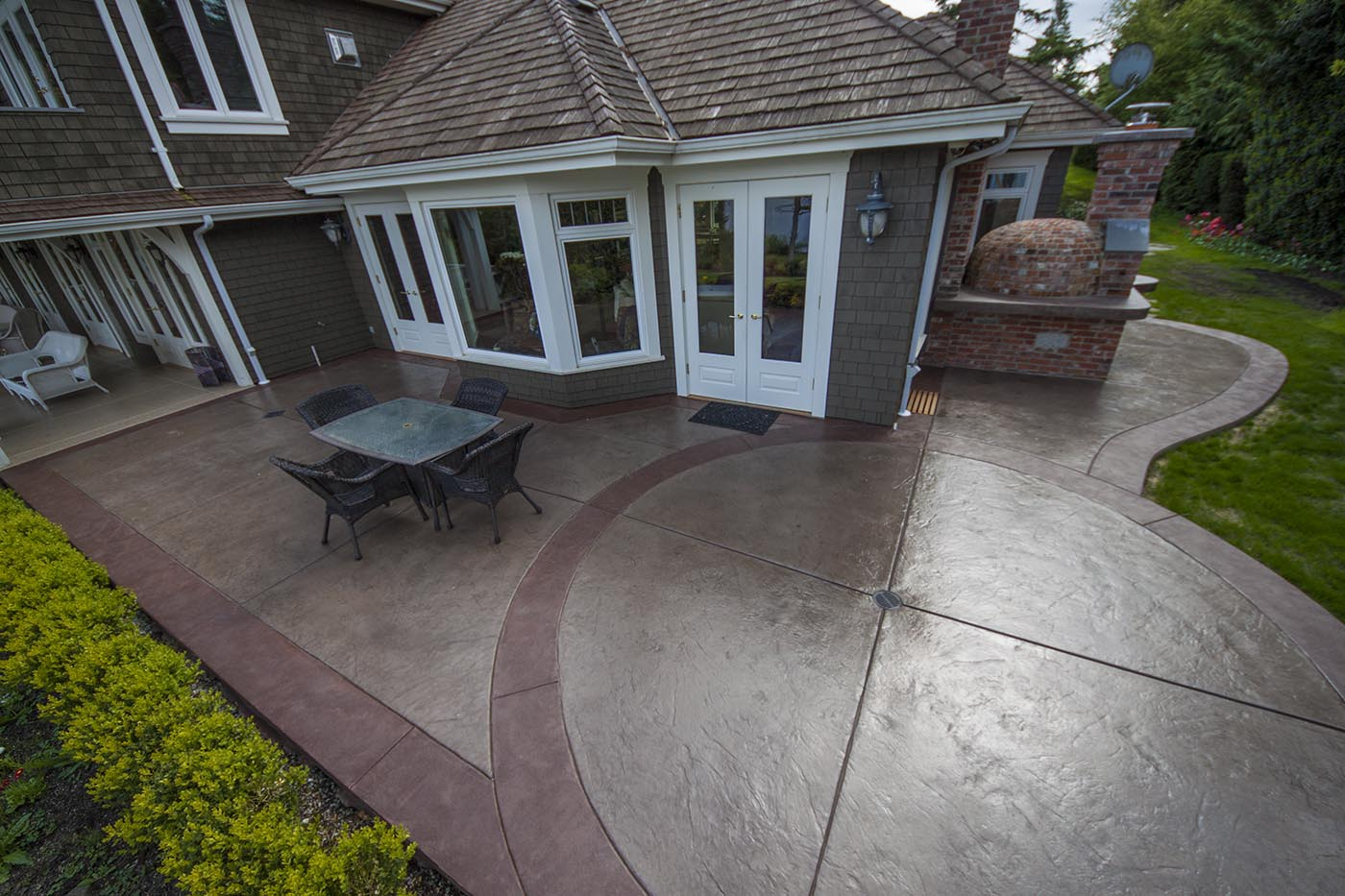 dyed concrete stamped canyon slate border patio | Flintstones ...